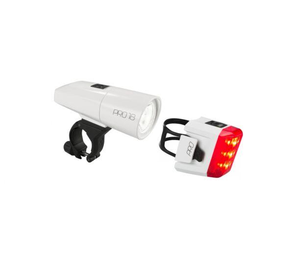 Cube Pro 18 kerékpáros fehér lámpaszett